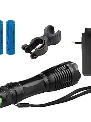 Világítás LED zseblámpák LED 4000 Lumen 5 Mód Cree XM-L T6 18650 / AAAÁllítható fókusz / Vízálló / Újratölthető / Ütésálló / Csúszásgátló