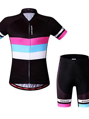 Wosawe® חולצת ג'רסי ומכנס קצר לרכיבה לנשים שרוול קצר אופנייםנושם / ייבוש מהיר / עיצוב אנטומי / 3D לוח / רצועות מחזירי אור / כיס אחורי /