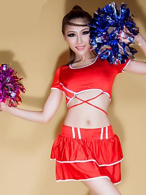 Fantasias para Cheerleader Roupa Mulheres Actuação Poliéster Padrão/Estampado 2 Peças Manga Curta Alto Saia / Top 66-70cm