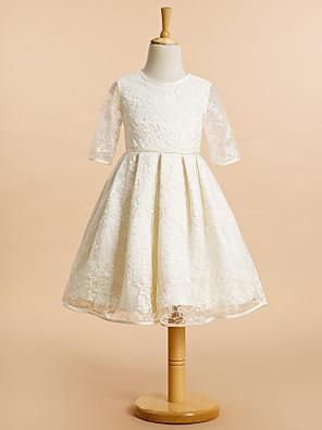 Lanting Bride A-Linie Ke kolenům Šaty pro květinovou družičku - Krajka Poloviční rukáv Klenot s Krajka