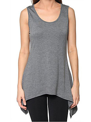 Women's Casual/Daily Simple Tank Top,Solid Round Neck Sleeveless Blue / Red / Black / Gray / Green Cotton Thin