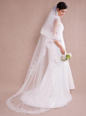 Véus de Noiva Uma Camada Véu Capela Borda com aplicação de Renda 110,24 em (280 centímetros) Organza