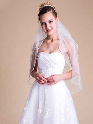 """הינומות חתונה שתי שכבות צעיפי מרפק 31.5 אינץ' (80 ס""""מ) טול לבן / שנהב"""