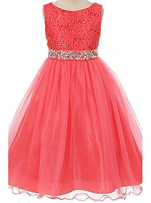 Girl's Cotton Summer Flower Printing Rhinestone Belt Lace Princess Dress