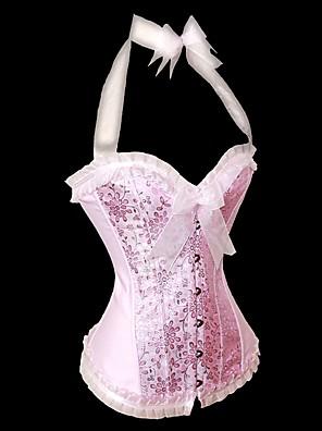 Feminino Sem Busto / Com Busto Roupa de Noite,Sexy / Push-Up / Rendas / Estampado / Retro Floral Náilon / Poliéster Rosa Mulheres