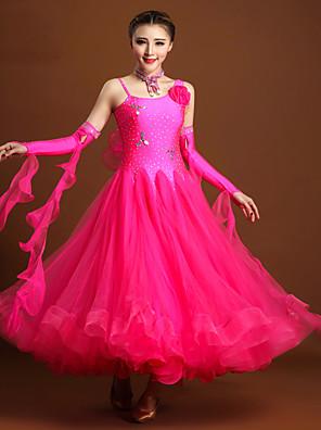 הופעות שמלות בגדי ריקוד נשים ביצועים ספנדקס / טול קריסטלים / rhinestones / פרח (ים) 4 חלקים בלי שרוולים טבעי שמלות / Neckwear / צמיד