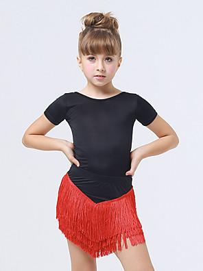 Dětské taneční kostýmy Šaty Dětské Výkon elastan / Polyester Střapce Jeden díl Krátké rukávy Šaty XXS:70CM,XS:75CM,S:80CM,L:90CM