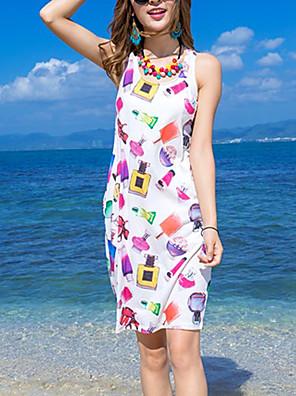 Mulheres Vestido Solto Simples Estampado Altura dos Joelhos Decote Redondo Rayon