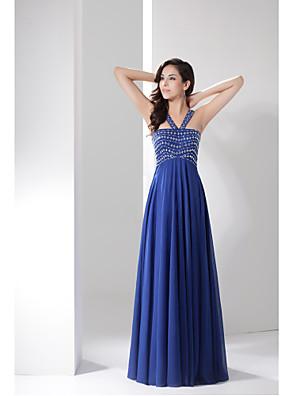 포멀 이브닝 드레스 A-라인 스트랩 바닥 길이 쉬폰 와 비즈