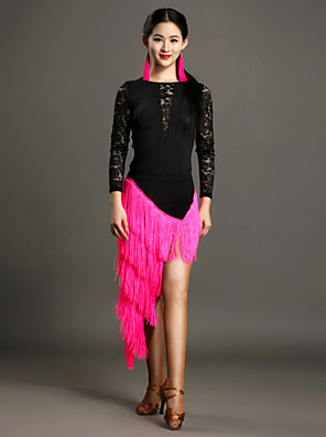 ריקוד לטיני תלבושות בגדי ריקוד נשים ביצועים תחרה / ויסקוזה תחרה / גדיל (ים) 2 חלקים שרוול ארוך טבעי חצאית / LeotardLeotard S:61cm M:62cm