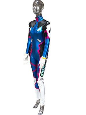 קיבל השראה מ Overwatch D.Va וִידֵאוֹ מִשְׂחָק תחפושות קוספליי חליפות קוספליי דפוס כחול שרוולים ארוכים Leotard / צמיד