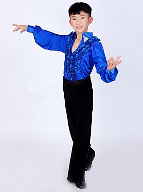 ריקוד לטיני תלבושות בגדי ריקוד ילדים ביצועים ספנדקס / פוליאסטר קפלים 2 חלקים שרוול ארוך גבוה מכנסיים / עליון