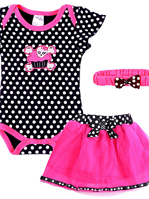 Cute Infant/Newborn Baby Girls Summer Black/Green Polka Dots Causal Rompers Set with Ruffle Skirt Head band for 0~18M