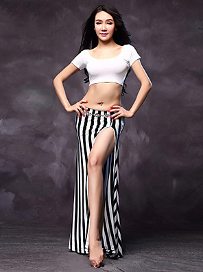 Fantasias Roupa Mulheres Actuação Algodão / Modal Frente Dividida 3 Peças Natural Shorts / Saia / TopTops M:30cm/L:32cm Skirts