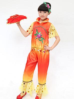 הופעות תלבושות בגדי ריקוד ילדים ביצועים פוליאסטר רקמה 2 חלקים שרוול קצר טבעי מכנסיים / עליוןTop:XS:45cm S:48cm M:50cm L:54cm XL:56cm