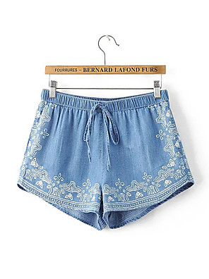 Kvinner Rett / Shorts / Jeans Bukser Bomull Uelastisk