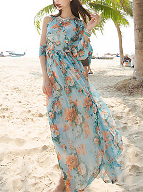 od té doby dámské sexy / Boho květinové šaty houpačka, kulatý výstřih maxi polyester