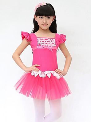בלט שמלות בגדי ריקוד ילדים ביצועים כותנה קשת (תות) חלק 1 בלי שרוולים טבעי שמלות Dress Length: XS:51cm S:53cm M:55cm L:57cm XL:61cm