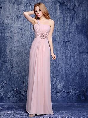 Lanting Bride® Na zem Šifón Šaty pro družičky - A-Linie Jedno rameno s Květina(y)