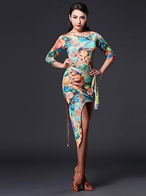 ריקוד לטיני תלבושות בגדי ריקוד נשים ביצועים Chinlon דפוס / הדפסה 3 חלקים אורך שרוול 3/4 טבעי שמלות / חגורה / שורטיםDress One