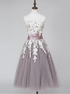 칵테일 파티 드레스 볼 드레스 끈없는 스타일 종아리 길이 레이스 / 새틴 / 튤 와 레이스