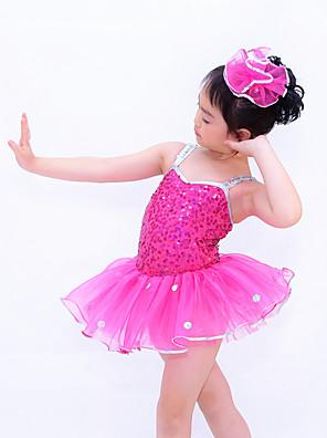 בלט שמלות בגדי ריקוד ילדים ביצועים Chinlon / אורגנזה / נצנצים Paillettes / Ruched / נצנצים / מנוקד 2 חלקים בלי שרוולים טבעישמלות /