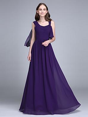 Lanting Bride® Na zem Šifón Šaty pro družičky Pouzdrové Popruhy s Sklady