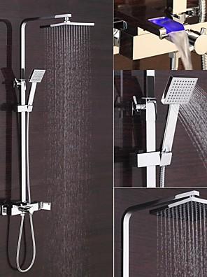 모던 주방,욕조수전(Centerset) LED / 폭포 / 와이드를 분무 with  도자기 발브 싱글 핸들 두 구멍 for  크롬 , 샤워 수전