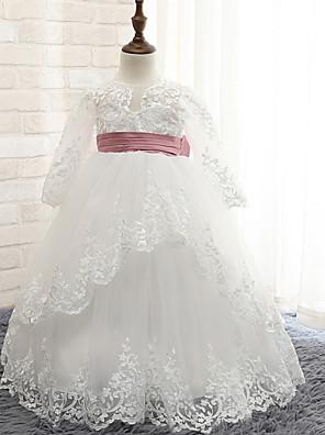 Plesové šaty Na zem Šaty pro květinovou družičku - umělé hedvábí Dlouhý rukáv Klenot s