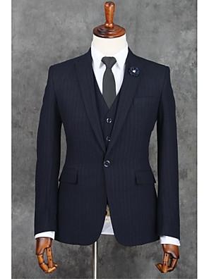 2017 Klagen slim fit Kerbe Einreiher Ein-Knopf-Polyester-Streifen 3 Stück dunkelblau gerade flatterten schwarz