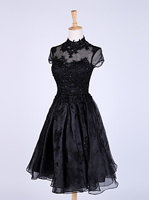 Cocktail Party Dress A-line High Neck Knee-length Organza with Appliques / Lace / Sequins