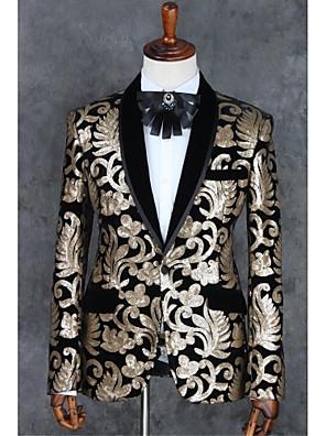 2017 obleky slim fit zářez single prsy jedním tlačítkem polyester vzory 2 ks Champagne rovně třepotal černá