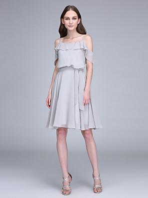 2017 Lanting bride® kolena šifon družička šaty - a-linie špagetová ramínka s