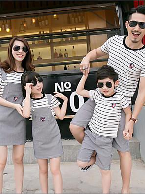 Léto Family Soupravy oblečení Mikro elastické Tenké Bavlna Krátký rukáv