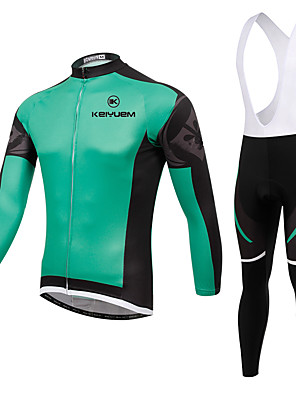 KEIYUEM® חולצת ג'רסי וטייץ ביב לרכיבה יוניסקס שרוול ארוך אופניים נושם / שמור על חום הגוף / ייבוש מהיר / לביש / דחיסה / 3D לוח / נוחמדים