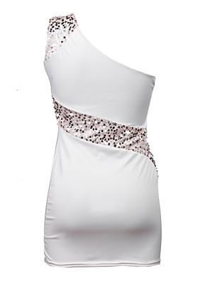 קיץ כותנה / פשתן / אחרים לבן ללא שרוולים מעל הברך צווארון סירה טלאים סקסי מסיבה\קוקטייל שמלה צינור נשים