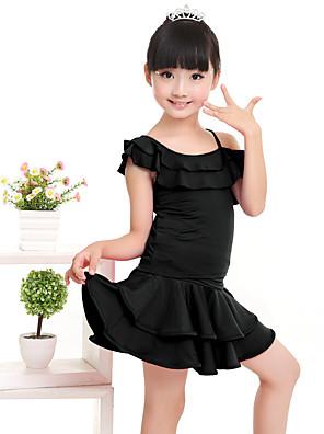 ריקוד לטיני תלבושות בגדי ריקוד ילדים ביצועים מילק פייבר קפלים 2 חלקים שרוול קצר טבעי חצאית / עליון100:49cm, 110:51cm, 120:53cm, 130:55cm,