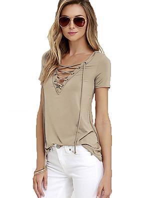 Mulheres Camiseta Casual Simples Verão,Sólido Branco / Preto / Marrom Raiom Decote V Manga Curta Média