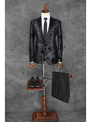 Suits Moderno Italiano Comum 1 Butão Poliéster Desenhos 2 Peças Preto Embutido Reto Sem Pregas (reta) Preto Sem Pregas (reta)Botões /