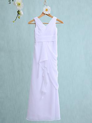2017 Lanting vestido longo bride® chiffon dama de honra júnior bainha / coluna v-pescoço com babados em cascata / ruching