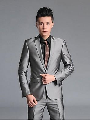 2017 ternos Slim Fit notch única breasted de poliéster de um botão / rayon sólidos 2 peças preto / cinza reta agitou