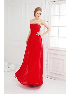 포멀 이브닝 드레스 볼 드레스 끈없는 스타일 바닥 길이 쉬폰 와 비즈 / 루시 주름 장식