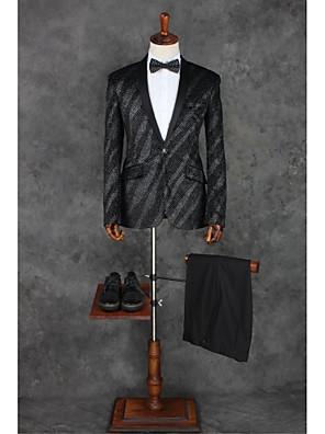 2017 obleky na míru fit šátek límec single prsy jedním tlačítkem polyesterové pruhy 2 kusy černé šikmé třepotal