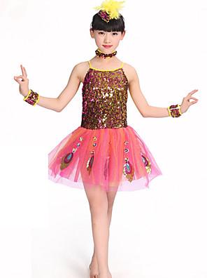 הופעות שמלות בגדי ריקוד ילדים ביצועים פוליאסטר נצנצים חלק 1 בלי שרוולים טבעי שמלות / Neckwear / צמידDress Length:XS:51cm S:53cm M:55cm