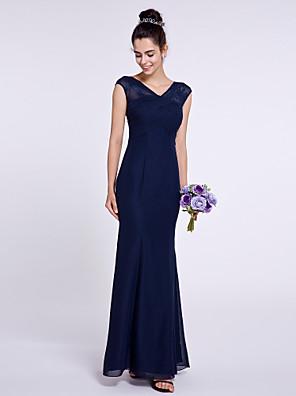 Lanting Bride® באורך הקרסול שיפון שמלה לשושבינה  בתולת ים \ חצוצרה צווארון וי עם בד בהצלבה