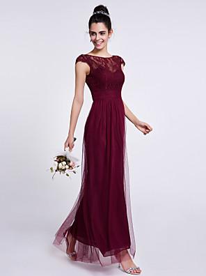 2017 Lanting vestido bride® tornozelos Renda / Tule dama de honra - bainha / coluna bateau com rendas