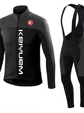 KEIYUEM® חולצת ג'רסי וטייץ ביב לרכיבה יוניסקס שרוול ארוך אופנייםנושם / שמור על חום הגוף / ייבוש מהיר / עמיד לאבק / לביש / דחיסה / 3D לוח