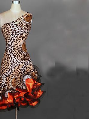 ריקוד לטיני שמלות בגדי ריקוד נשים ביצועים סאטן שיפון / ספנדקס קפלים חלק 1 בלי שרוולים גבוה שמלות 95cm