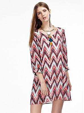 heartsoul kvinders gå ud simpel chiffon kjole, udskrive rund hals over knæet ¾ ærme rød sommer polyester