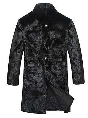 Pánské Jednobarevné Denní nošení / Větší velikosti Dlouhý rukáv Umělá kožešina Trenčkot-Černá